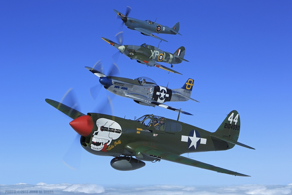 The Hangar 11 Collection fighters airborne together in October 2013. Photo by John Dibbs