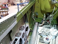 The interior of the P-51's cockpit, completely stripped